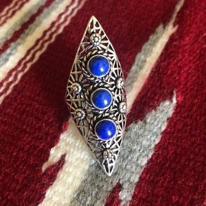 Silver 925 Ring with Lapis Stone
